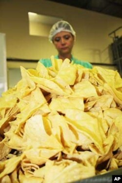 Mexico football supporter and factory manager, Gaby Agraz, sorts through a pile of tortilla chips...She's confident Mexico will beat South Africa in the world Cup's opening game on June 11th