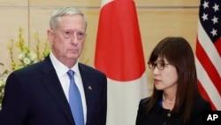 美國國防部長馬蒂斯上星期六與日本防衛大臣稻田朋美會談