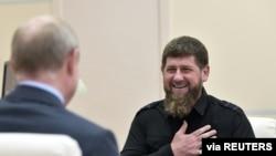 Рамзан Кадыров на встрече с Владимиром Путиным. Август 2019 года.