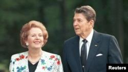 撒切爾夫人與里根在上世紀八十年代合照