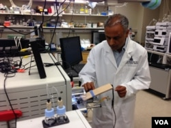 Dr. Akhilesh Pandey uses a mass spectrometer to analyze proteins from fetal cells. (Credit: Julie Taboh)