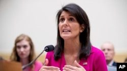 "U.S. Ambassador to the United Nations Nikki Haley testifies to the House Foreign Affairs Committee on ""Advancing U.S. Interests at the United Nations"" in Washington, June 28, 2017."