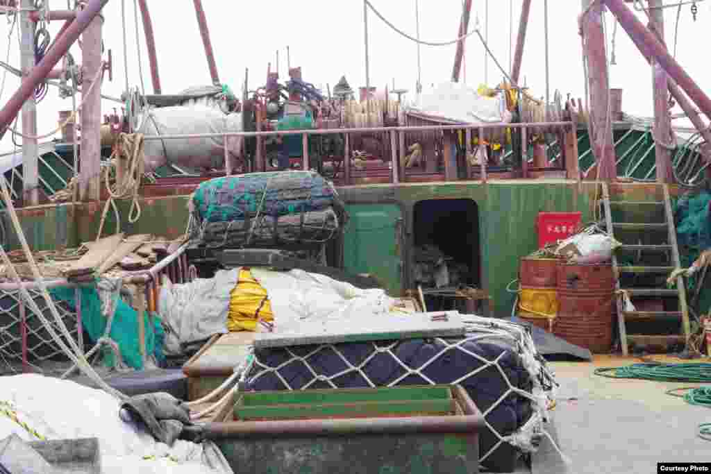 Fishing equipment aboard a suspected Chinese vessel that got stuck on a protected reef in the Philippines, April 8, 2013. (Tubbataha Management Office)
