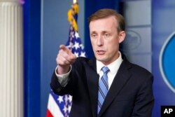 White House national security adviser Jake Sullivan speaks during the daily briefing at the White House in Washington, Aug. 23, 2021.