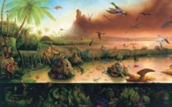 """A detail of the 1992 painting """"Evolution"""" by Alexis Rockman"""