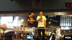 2014年佔領運動中,戴耀廷在台上發言 (美國之音海彥拍攝)
