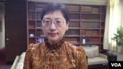台湾外交部发言人高安 (美国之音雅莉拍摄)