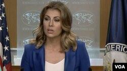 美国国务院发言人奥特加斯在国务院的例行记者会上。(2019年8月8日)
