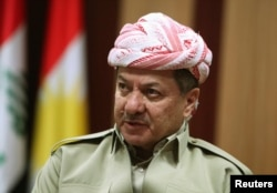 FILE - Kurdish Regional Government President Masoud Barzani is shown in Irbil, in Iraq's Kurdistan region, May 12, 2014.