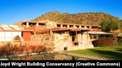 Frank Lloyd Wright's Taliesin West building in Scottsdale, Arizona. The house was the architect's winter home and studio.