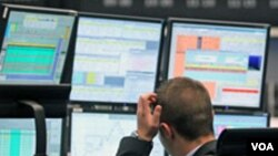 Trader monitoring markets in Europe (file photo)