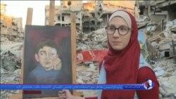 بومهای نقاشی بر روی آوارهای برجای مانده از جنگ سوریه