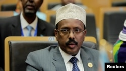 FILE - Somalia's President Mohamed Abdullahi Mohamed, pictured in Addis Ababa in January 2018, has called for the lifting of U.N. sanctions against Eritrea.