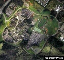 鸟瞰美国奥勒冈州一家社区学院校园