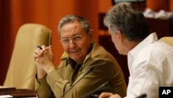 FILE - Cuba's President Raul Castro, left, and Vice President Miguel Diaz-Canel