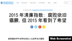 """致力于反贪污腐败的国际组织""""透明国际""""网站发布最新年度报告(网站截图)"""