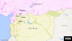 The Syrian towns of Azaz and Marea, near the Turkey border