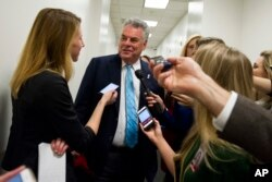 Rep. Peter King, R-N.Y. speaks with reporters on Capitol Hill in Washington after a House Republican leadership meeting, Nov. 15, 2016.