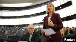 7일 프랑스 스트라스부르크의 유럽연합 의회에서 열린 난민 문제 회의에서 페데리카 모게리니 유럽연합 외교담당 최고대표가 발언하고 있다.