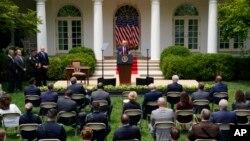 Президент Дональд Трамп выступает в Розовом саду Белого дома. 16 июня 2020 г.