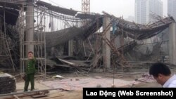 Hiện trường vụ sập giàn giáo công trình xây dựng ở quận Nam Từ Liêm, Hà Nội.