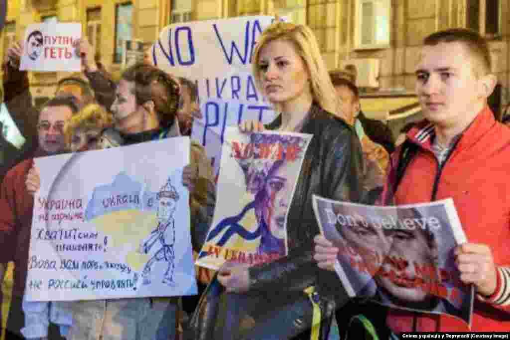 """Лісабон """"За рішенням громади, акції будуть продовжуватися до повної перемоги, і вже наступний мітинг запланований на п'ятницю, о 19:00 годині під посольством Росії""""."""