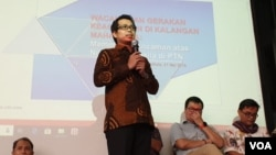 Direktur Riset Setara Institute, Halili memaparkan hasil penelitian di Hotel Ibis, Jakarta, Jumat (31/5). (Foto: VOA/Sasmito)