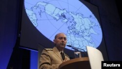 NATO Supreme Allied Commander Europe (SACEUR) U.S. Navy Admiral James Stavridis delivers a speech before a panel discussion in Berlin January 24, 2012.
