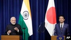 日本首相安倍晉三與印度總理莫迪在聯合記者會上