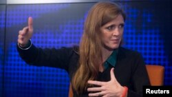 """FILE - U.S. Ambassador to the United Nations Samantha Power participates in a panel discussion, """"The Ebola Crisis: How it Arose and What you Need to Know,"""" in New York."""