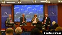 미국 워싱턴의 미한경제연구소(KEI)가 10일 개최한 토론회에서 전문가들이 미한 동맹관계에 관해 토론하고 있다. (사진 KEI 제공)