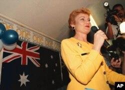 FILE - Australian Senator Pauline Hanson.