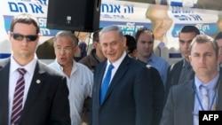 PM Israel dan kandidat dari Partai Likud Benjamin Netanyahu mengunjungi permukiman Yahudi Har Homa, di Yerusalem timur sehari sebelum pemilu parlemen, Senin (16/3).