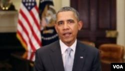Presiden Barack Obama menyampaikan pidato mingguan dari Gedung Putih (Foto: dok).