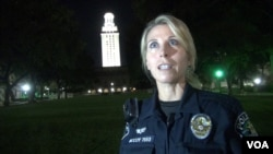 Monika McCoy is a police officer in Austin, Texas. McCoy's father, Houston, helped stop gunman Charles Whitman during a mass shooting on the University of Texas campus 50 years ago. (G. Flakus/VOA)