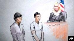 Диас Кадырбаев и Азамат Тажаяков в зале Федерального суда Бостона. 1 мая 2013г.