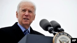U.S. Vice President Joe Biden speaks during a ceremony celebrating the beginning of construction of the first domestic violence shelter in more than a decade in Chicago, Nov. 25, 2013.