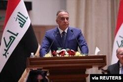 무스타파 알카드히미 이라크 신임 총리가 7일 바그다드 의회에서 연설하고 있다.