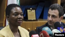 UN emergency relief coordinator Valerie Amos speaks during a joint news conference with Lebanon's Minister of Social Affairs Wael Abu Faour in Beirut, August 16, 2012.