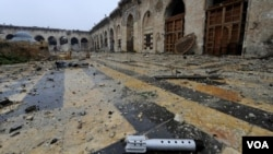 阿勒颇被损坏的古迹奥米亚清真寺