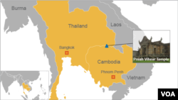 Map showing location of Preah Vihear temple on Cambodia/Thailand border (VOA)