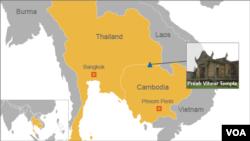 Peta lokasi Candi Preah Vihear di perbatasan Kamboja-Thailand (Foto: dok).