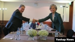 강경화 외교부 장관(오른쪽)과 윈스턴 피터스 뉴질랜드 외교장관이 11일(현지시간) 베트남 다낭에서 외교장관 회담을 하면서 악수하고 있다.