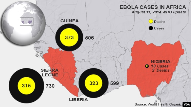 Ebola outbreaks, deaths in West Africa, as of August 11, 2014.