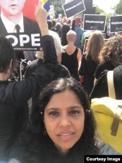 Monica Jahan Bose in front of Supreme Court.