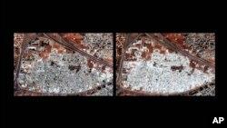 人权观察公布的两幅卫星图像对比显示叙利亚城市哈马的玛沙•阿尔宾社区2012年9月28日(左)和2012年10月13日的不同情形。