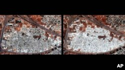 This combination of two satellite images released by Human Rights Watch shows the Masha al-Arb'een neighborhood in Hama, Syria on Sept. 28, 2012, left, and on Oct. 13, 2012.