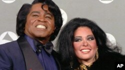 James Brown with wife, Adrienne Lois Brown (1993 file photo)