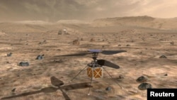 NASA's Mars Helicopter, a small, autonomous rotorcraft, which will travel with the agency's Mars 2020 rover, scheduled to launch in July 2020, to demonstrate the viability and potential of heavier-than-air vehicles on the Red Planet, is shown in this artist rendition from NASA/JPL in Pasadena, Calif., May 11, 2018.