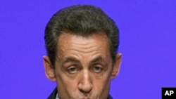 France's President Nicolas Sarkozy speaking in Toulon, Dec. 1, 2011.